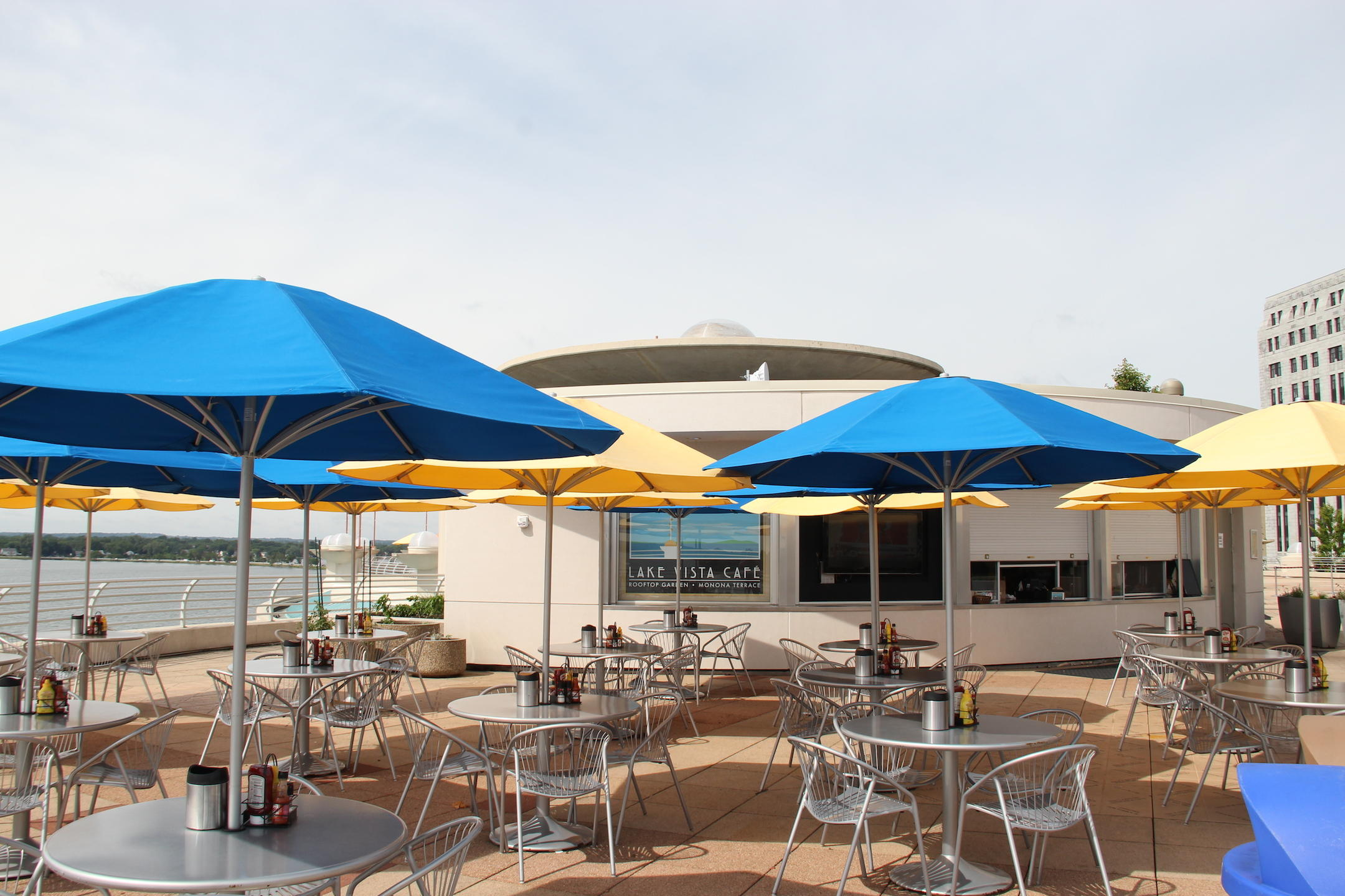 Lake Vista Cafe fooftop at Monona Terrace & Frank Lloyd Wrightu0027s stunning Monona Terrace Convention Center in ...