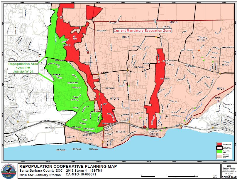 a map of tuesdays lifted evacuation orders in green sb county