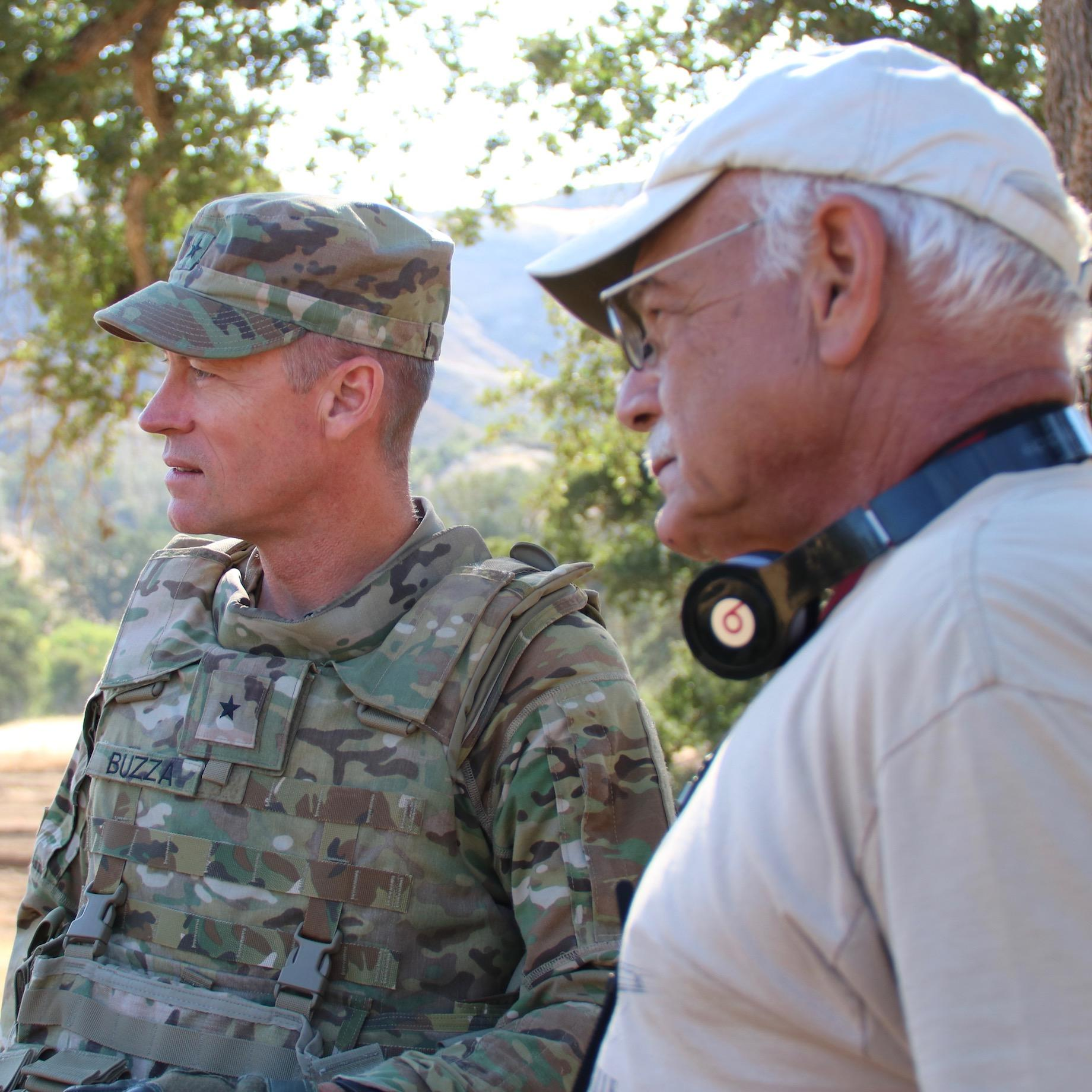 Brigadier General Shane Buzza Commanding Of The 91st Training Division At Fort Hunter Liggett And Correspondent Tom Wilmer Right Observe Army