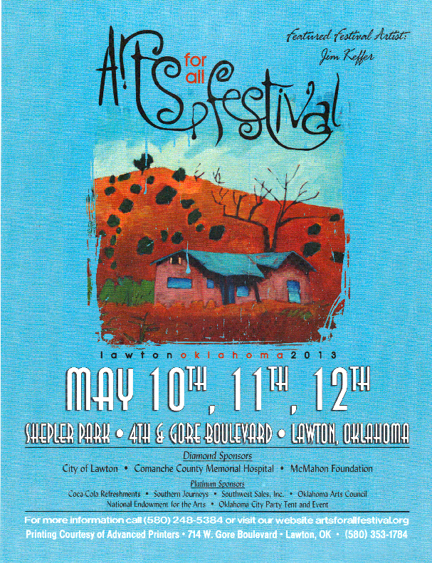 Arts for All Festival Poster - May 10th - 12th, Shepler Park - 4th & Gore, Lawton, OK
