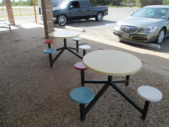 Outdoor table at the Archer City Dairy Queen.