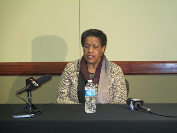 Civil rights pioneer Myrlie Evers-Williams in a press briefing prior to her panel discussion at Cameron University.