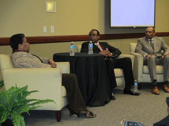 A panel discussion featuring civil rights pioneer Myrlie Evers-Williams at Cameron University.