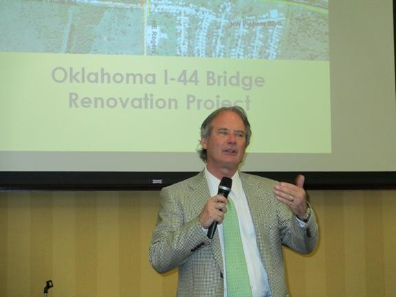 Oklahoma Transportation Commissioner Brad Burgess discusses the background of the Lawton Gateway Project at a public meeting regarding project designs.