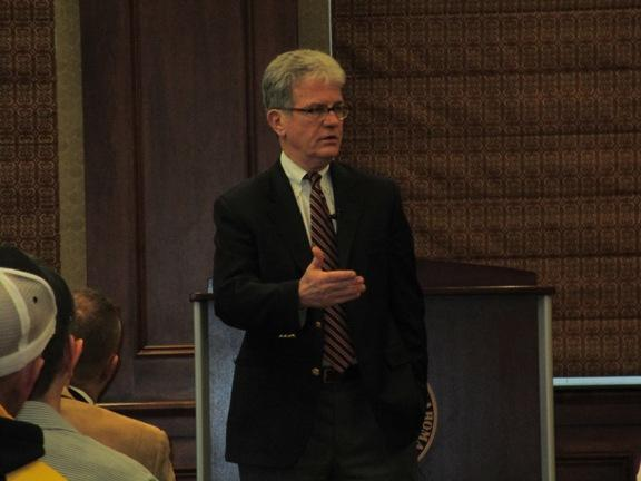 Sen. Tom Coburn speaks to the crowd at a town hall meeting at Cameron University.