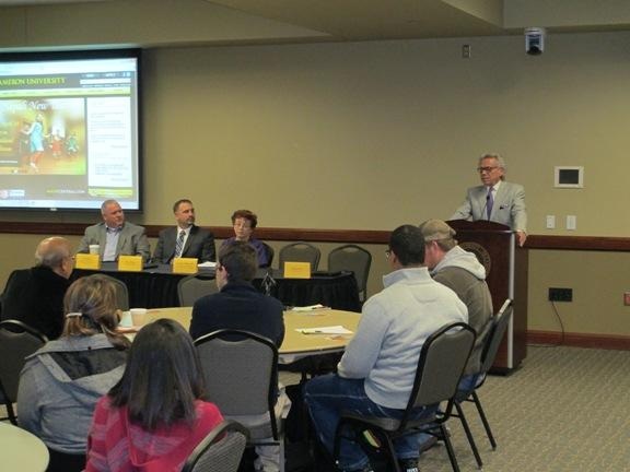 Lawton Mayor Fred Fitch speaks at a business forum on the subject of civic beautification held at Cameron University.