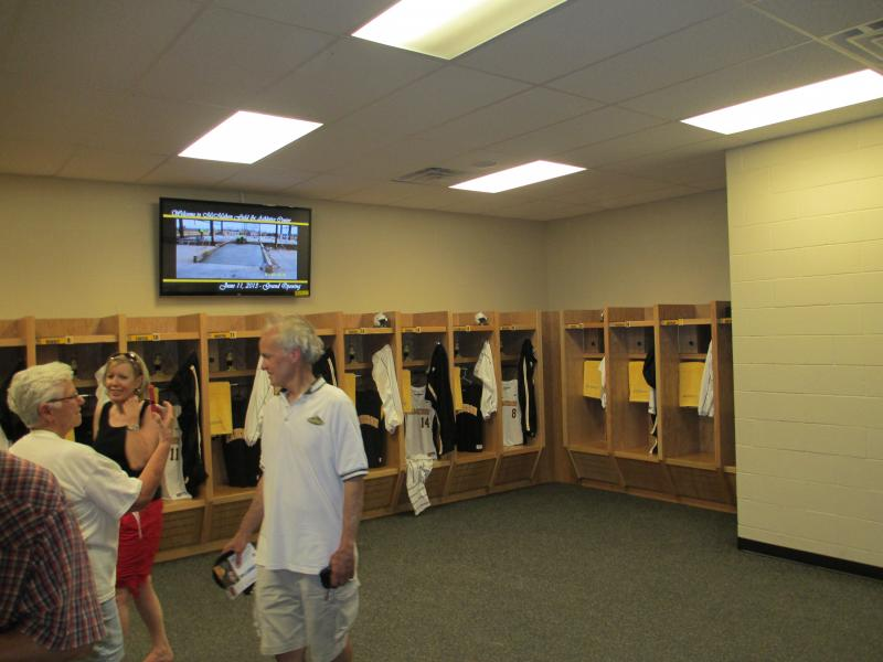 Home locker room at Cameron University's McMahon Field.