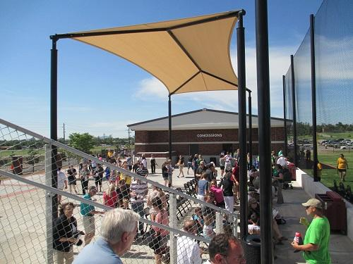Assembled guests at the dedication of Cameron University's new softball field and athletics center.