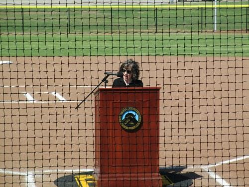 Cameron University President Dr. Cindy Ross speaks at the dedication of McMahon Field.