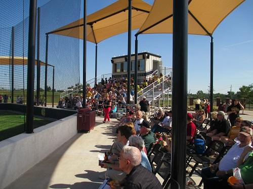 Fans and supporters at the dedication of McMahon Field.