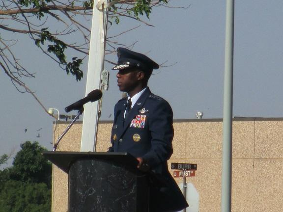 General Edward Rice Jr. speaks at the change of command ceremony for Altus Air Force Base.
