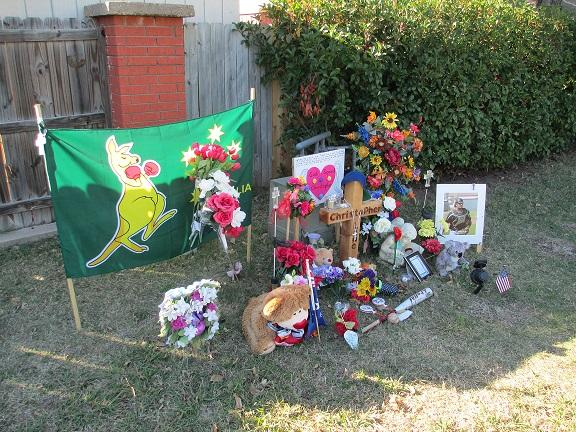 Roadside memorial for Chris Lane in Duncan.