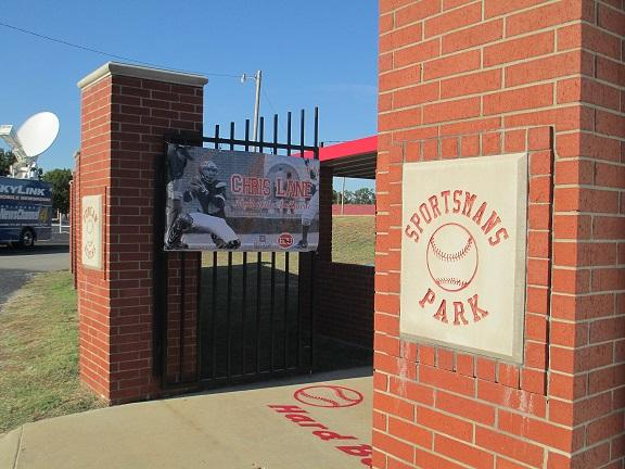 "Main gate at Duncan's Sportsmans Park for ""Chris Lane Night at the Ballpark."""