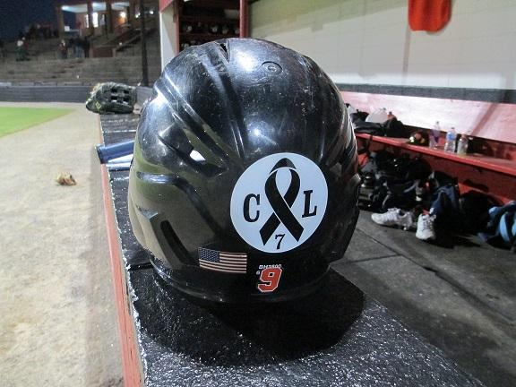 Chris Lane memorial sticker on the back of an East Central batting helmet.
