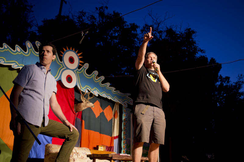 Denver Latimer (right) and Michael Gannon welcome the audience to the second night of The Butcher Shop on Sunday, Sep. 6. The festival features live stage performances, music, a sculpture garden and local vendors.