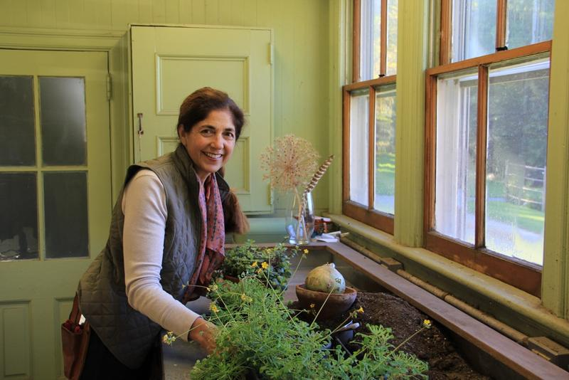 Gail Read in the circa 1901 potting shed at Blithewold.
