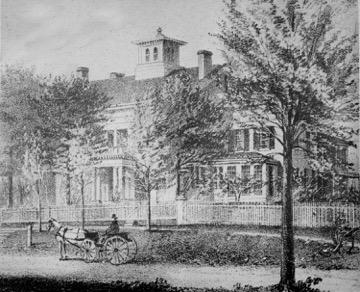 An archival etching of The Homestead.