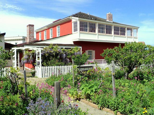 Cooper Molera Adobe and gardens in spring