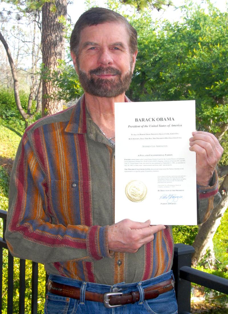 Author Stephen Arrignton displaying his presidential pardon