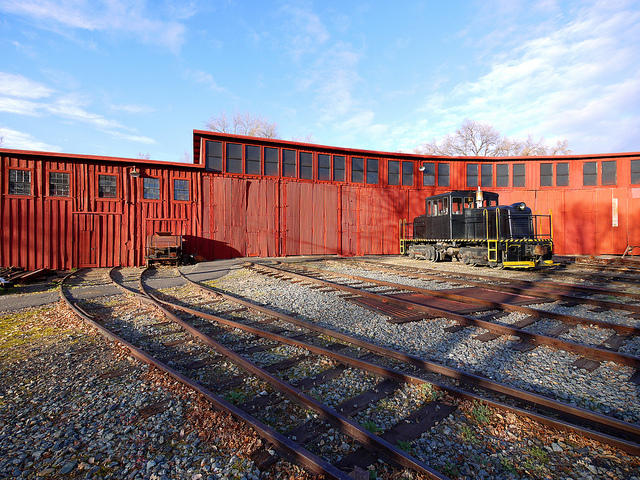 The train restoration roundhouse at Railtown also restores trains for the state railroad museum in Old Town Sacramento.