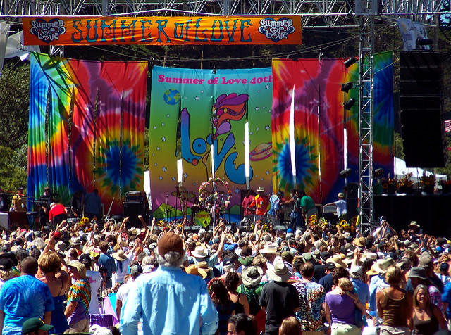 They started the 50th anniversary of the Summer of Love in San Francisco's Golden Gate Park at the 40th anniversary.