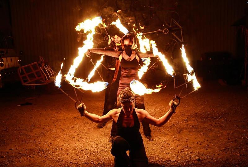 The Lumininjas fire-dancers at Art at the Matador