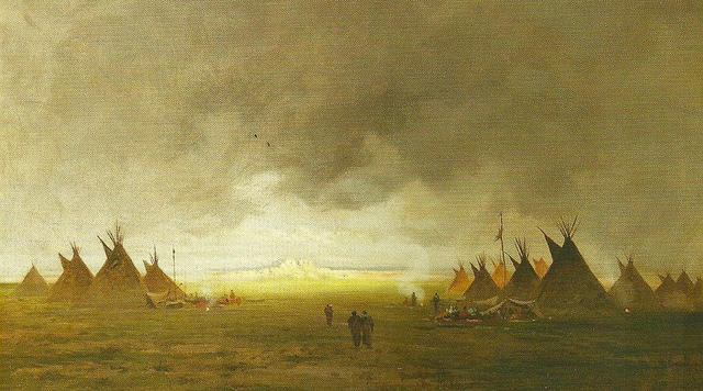 Red Cloud's Camp at Dawn, 1874 painting by Jules Tavernier, included in the Shasta Courthouse Museum collection, Shasta State Historic Park