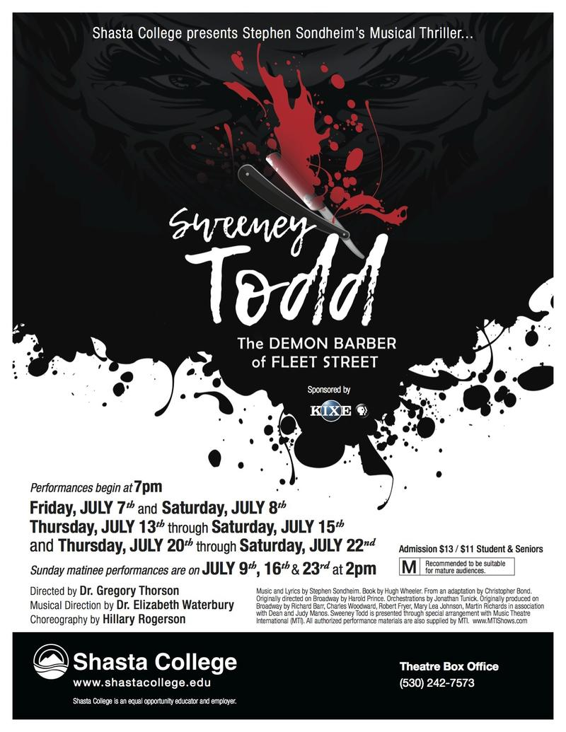 "Poster for Shasta College's ""Sweeney Todd"""