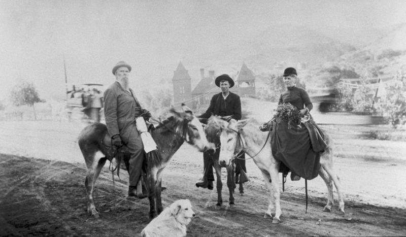 John and Annie Bidwell riding burros, 1890