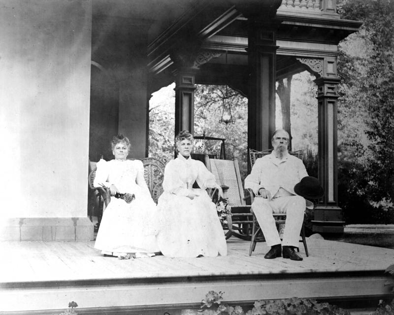 Annie and John Bidwell with Annie's Sister Sallie on the porch of Bidwell Mansion, about 1895: All three accompanied John Muir, Asa Gray and his wife, and Sir Joseph Hooker on a botany adventure to Mount Shasta in 1877.