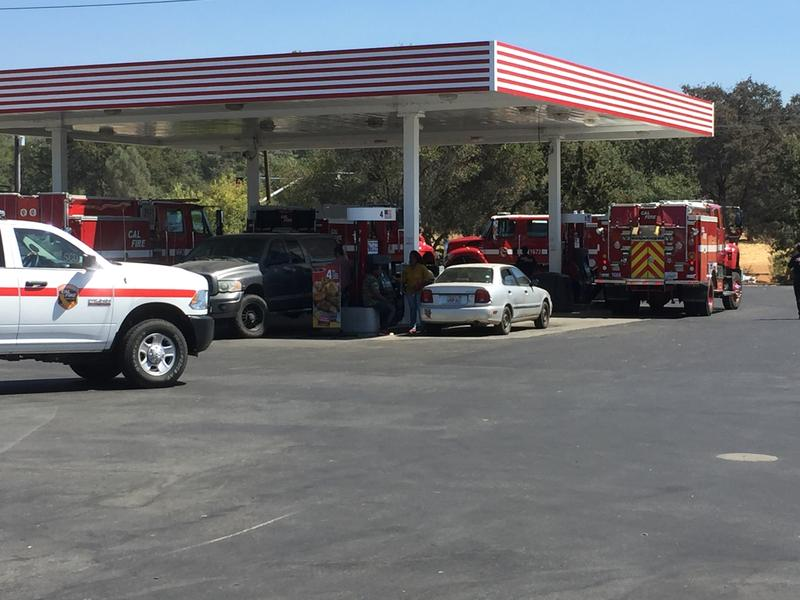 Firefighters gassing up at Lakeside