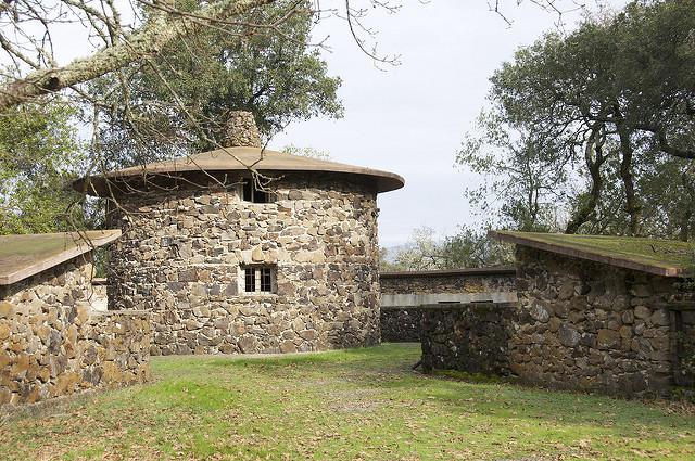 The Pig Palace, Jack London's innovative circular hog barn, and surrounding pens