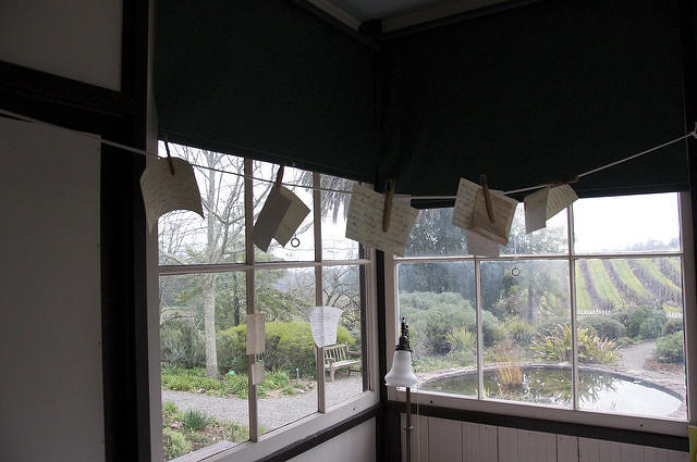 Sleeping porch at The Cottage, words still aflutter, where Jack London spent his last days.