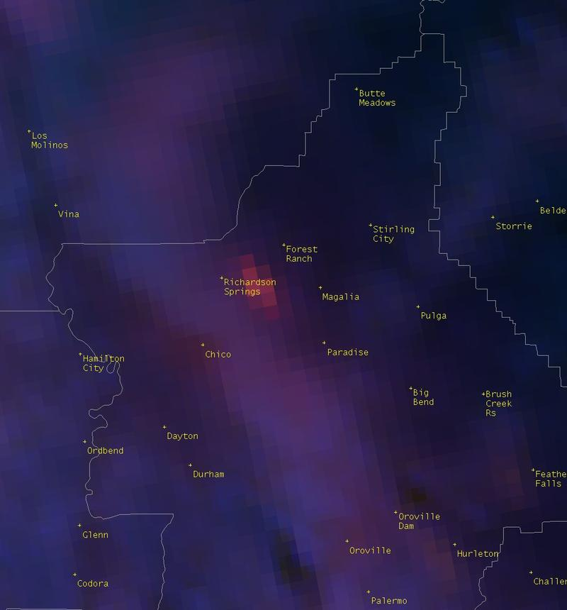 Satellite image from the National Weather Service shows fire burning east of Chico