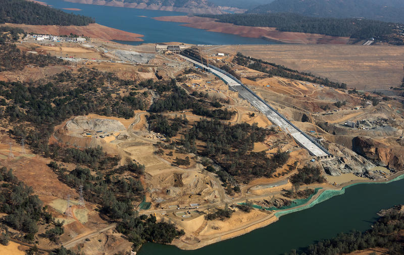 An aerial view of the Lake Oroville spillways recovery site in Butte County, California.