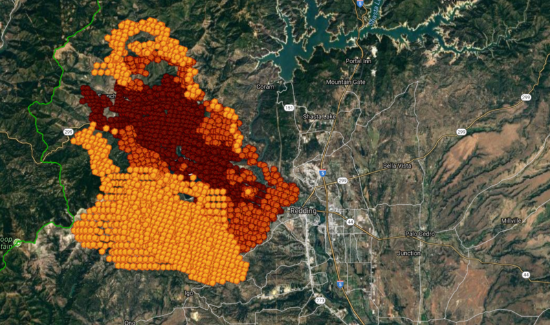 Satellite imagery depicting fire hot spots of the Carr Fire burning in Shasta County on Saturday 7/28/18