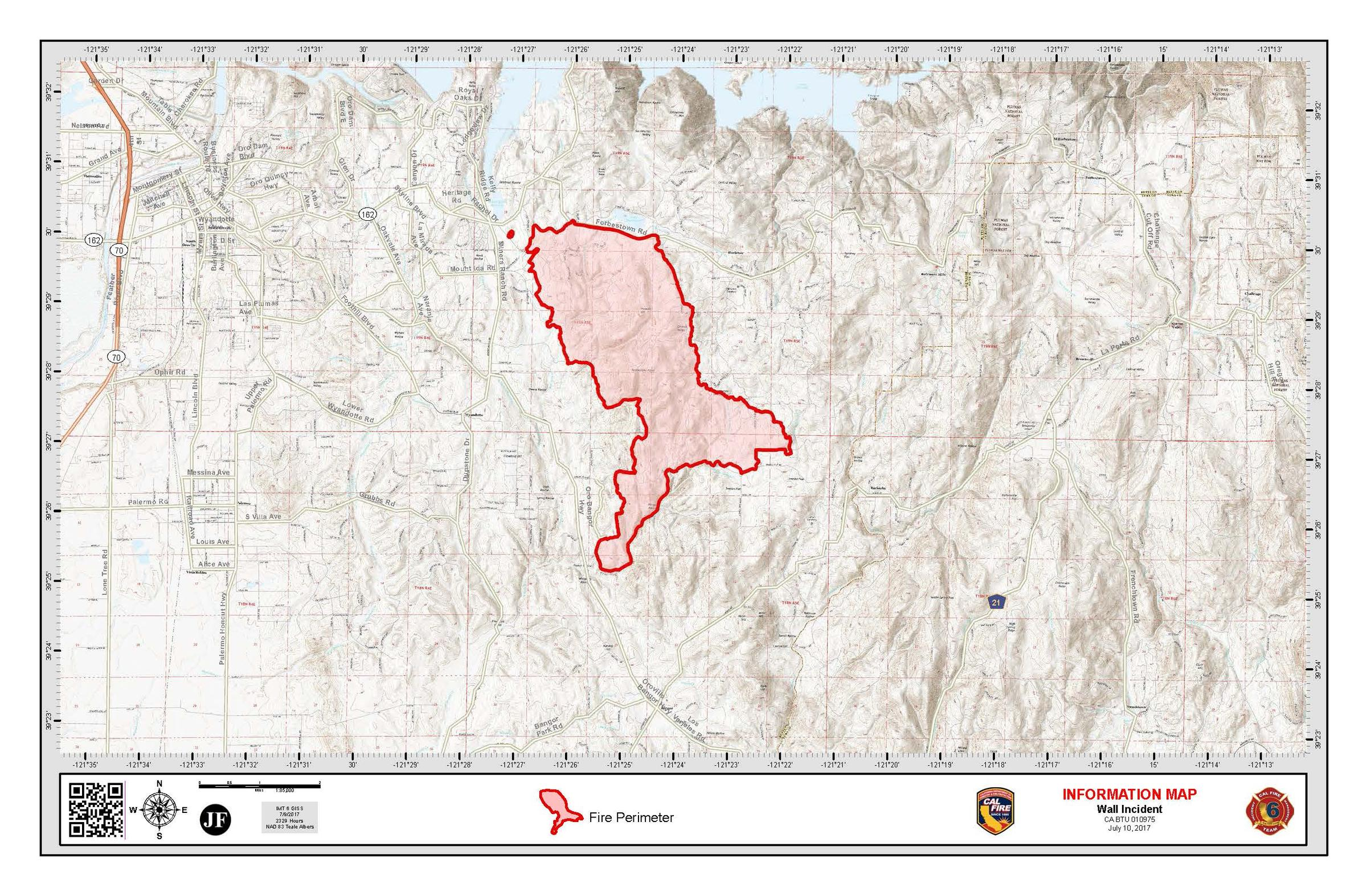 Butte County Wall Fire Contained Thousands Of Structures - Butte county map