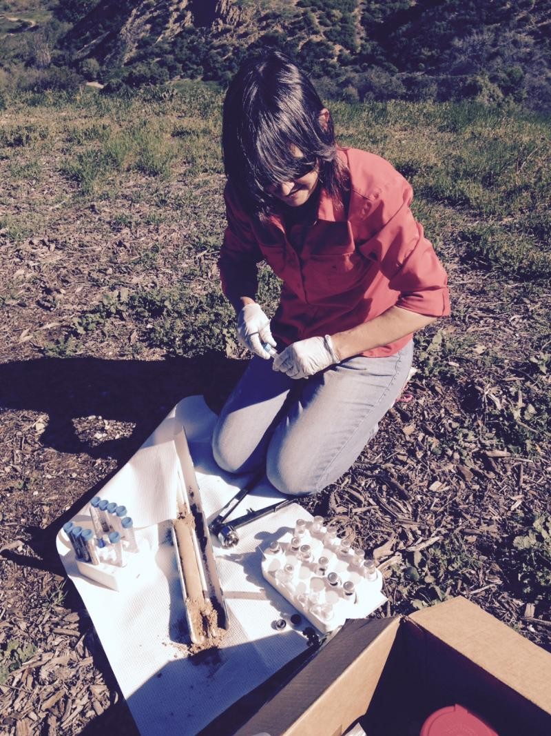 CSUCI Researcher Dr. Patricia Tavormina takes soil samples from Aliso Canyon, in Porter Ranch for study of methane consuming microbes
