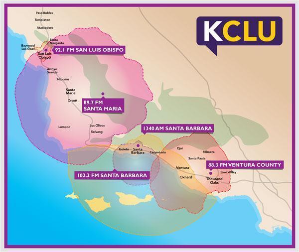 KCLU Coverage Map for Ventura, Santa Barbara, San Luis Obispo Counties.