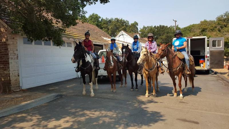 Ruth Gerson. Jeanne Wallace, Janet Peterson, Tracey Potter and Kimberly Gustafson returning from their 67-mile horseback ride on the Backbone Trail.