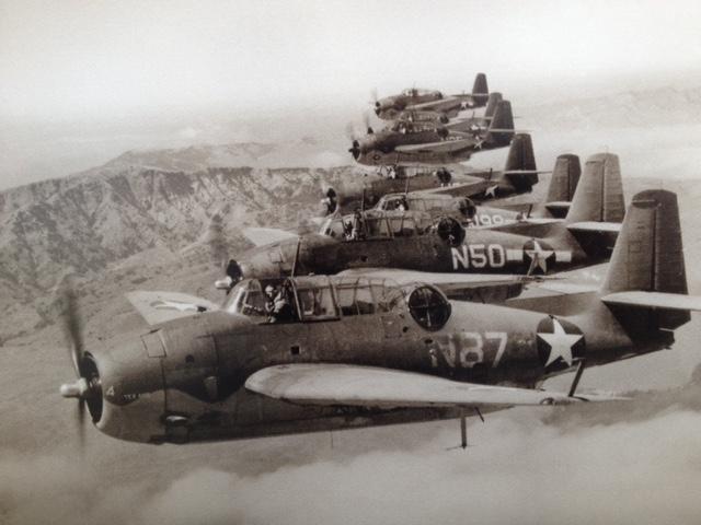 Planes based at Marine Corps Air Station Santa Barbara during World War II on training mission