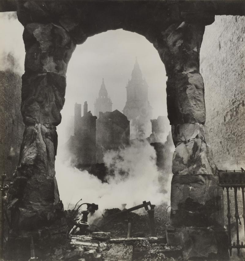 Iconic photograph of London's St. Paul's Cathedral taken during the Blitz by photographer Cecil Beaton