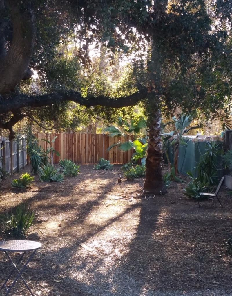 Backyard of Santa Barbara house where the homeless women will live