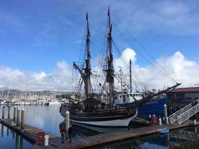 Lady Washington, a replica tall ship from the 1700s, is docked at Ventura Harbor