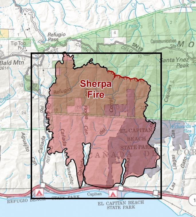 An evacuation warning is in effect for the Sherpa Fire burn area.