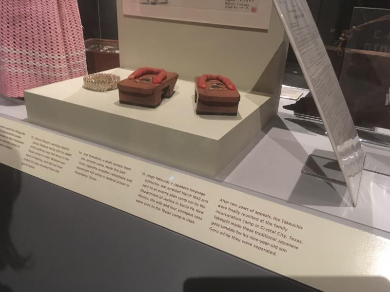 "The sandals are part of an exhibition called ""Righting a Wrong-Japanese-Americans and World War II"""
