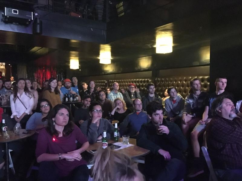 People pack M8RX Nightclub in Santa Barbara to listen to astronomy talks