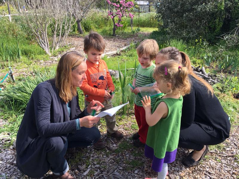 Preschoolers are starting their garden scavenger hunt