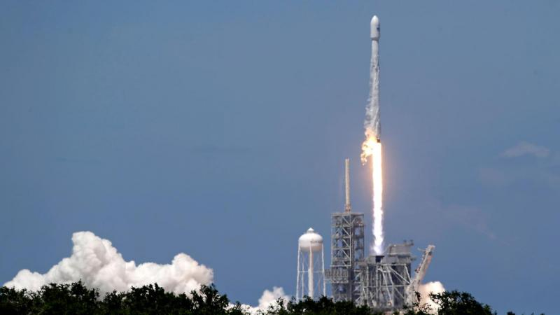 A SpaceX Falcon 9 rocket successfully lifted ten small communication satellites into orbit Sunday