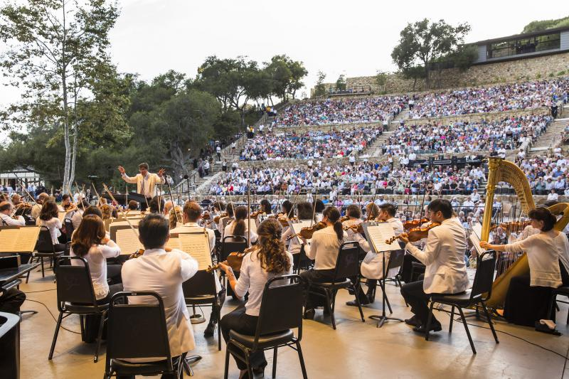 The Music Academy of the West and the New York Philharmonic performing a joint concert at Santa Barbara Bowl in 2015